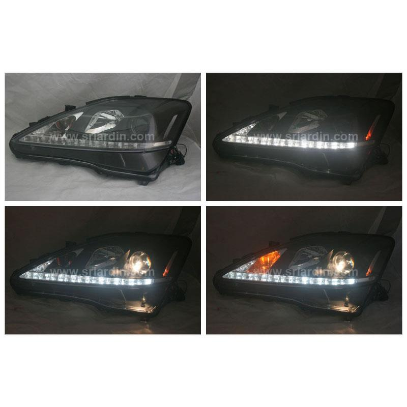 Lexus IS250 06-09 Black Projector Headlamp w LED