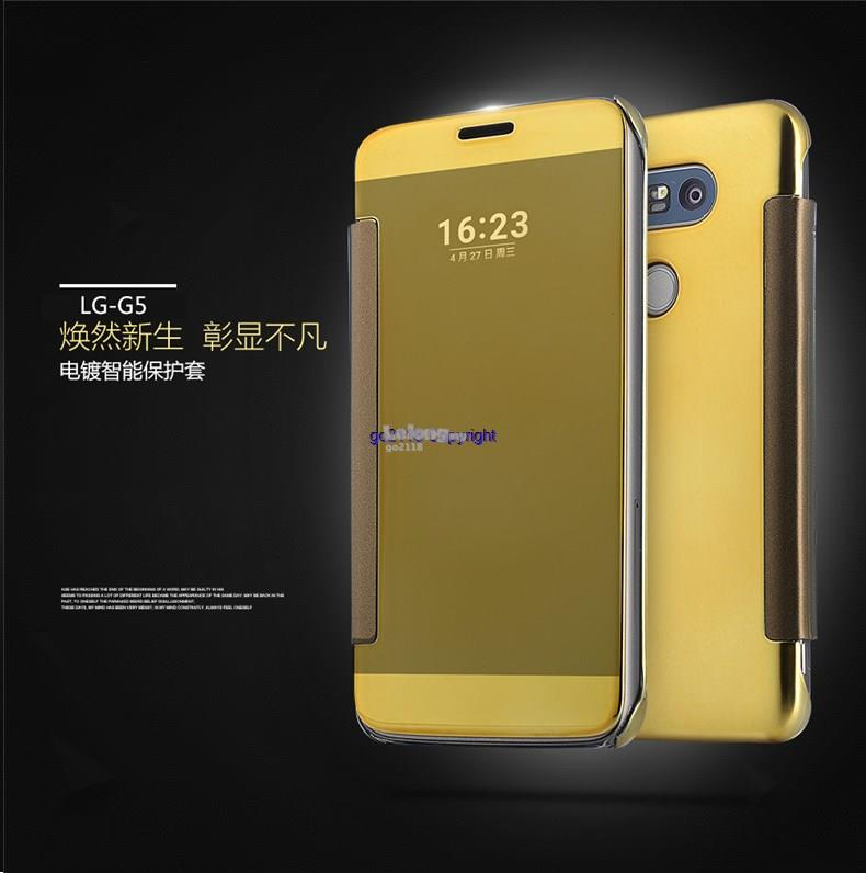huge discount c2c14 3123d LG G5 Mirror Electroplate Smart View Flip Cover Casing+Tempered Glass