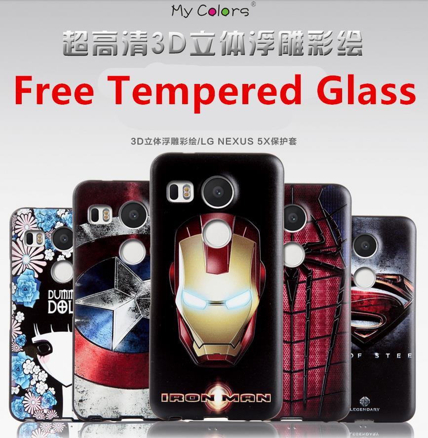 buy popular 1a148 5c5c2 LG Nexus 5X 3D Relief Silicone Case Cover Casing + Free Tempered Glass