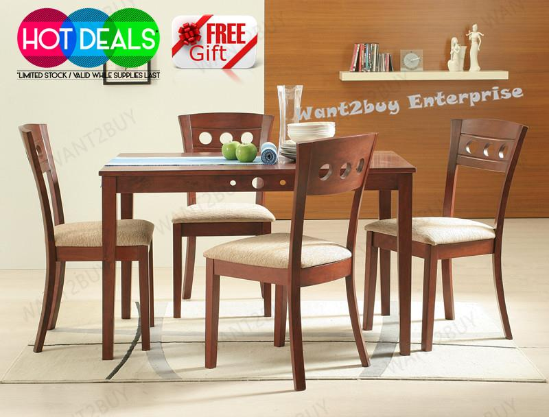Liana 4 Cushion Chair 1 Rectangle Solid Wood Dining Set Meja Makan