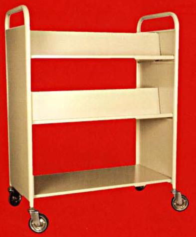 Library Book Trolley 2 Sided 2 Slanting 1 Flat Shelf Steel