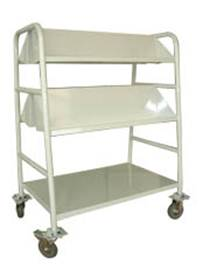 Library Book Trolley 2Sided 2Sloping 1Flat Shelf Steel FOC Del 0 GST