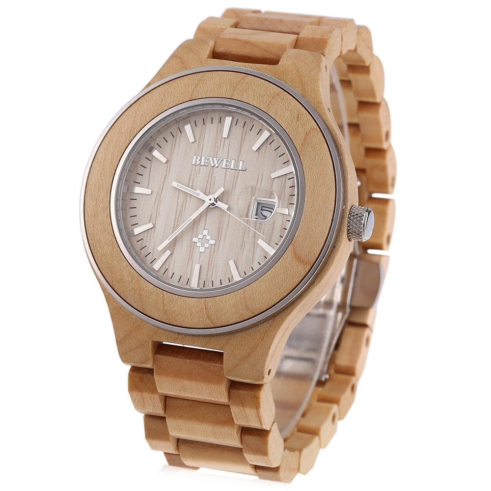 LIGHT BROWN Bewell 100A Men Japan Quartz Watch Zebrano Dial Luminous P..