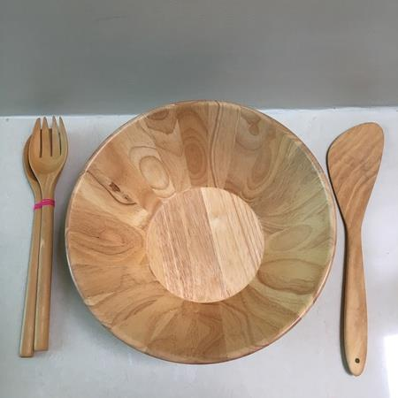 Light Brown Wooden Salad Set Large (Bowl, Salad Server + Spatula)