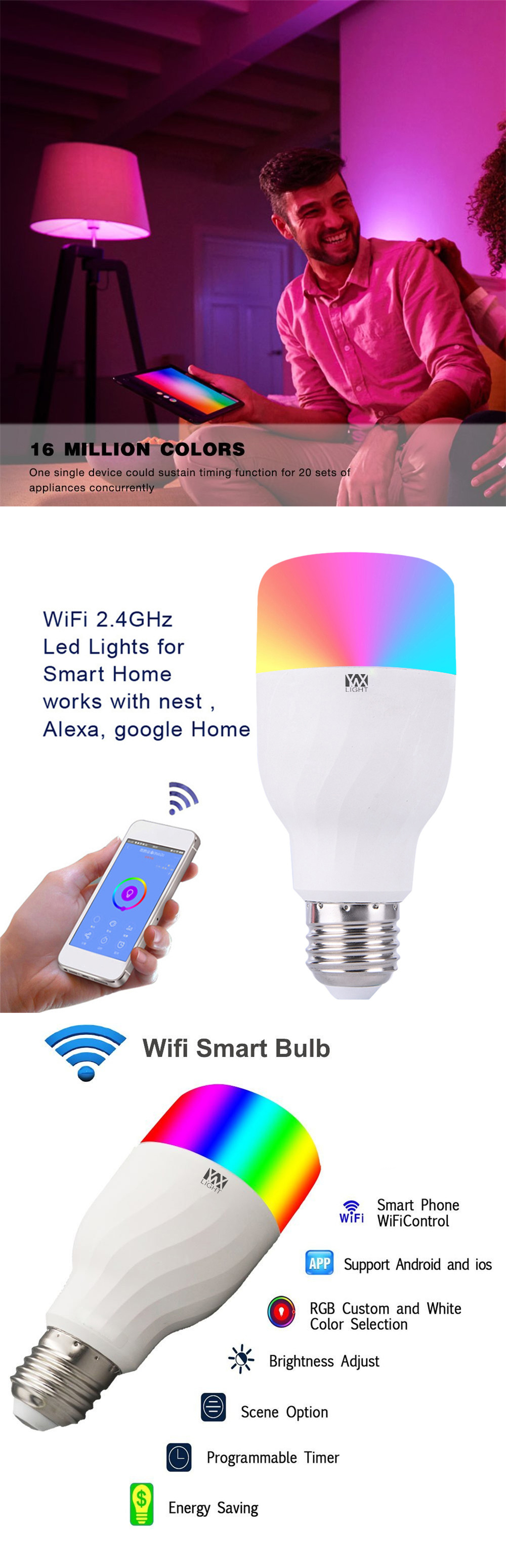 Light Bulbs - Led Bulb - 1pcs Ywxlight Colorful App WIFI Remote Contro..