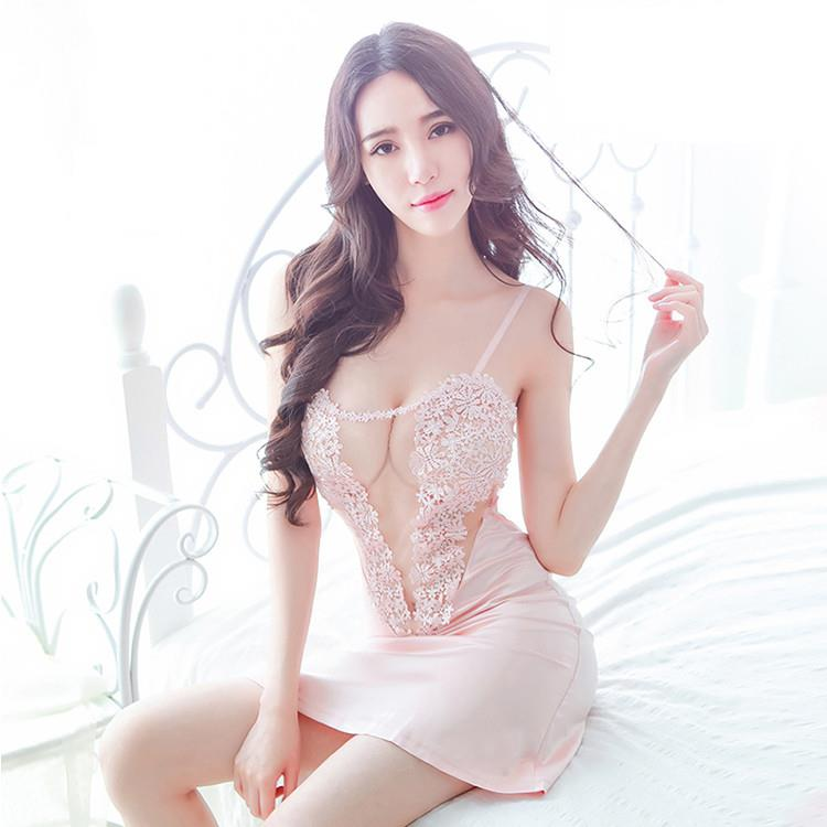Light Pink Floral Emboidery Wedding Costume Babydoll Sleepwear MS298