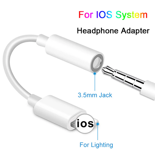Lightning To 3.5mm Earphone Jack Audio Cable For IPhone IOS Connector