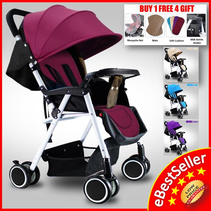 Lightweight Baby Stroller Folding Carrier 8X Wheels, Suspension Canopy