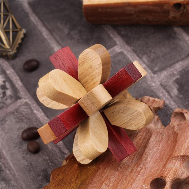 Lilac Flower Wooden Kongming Lock Wood Brain Teaser Puzzle Game Toy Gi