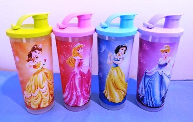 ... LIMITED Tupperware DISNEY PRINCESS Kids Water Tumbler 4pcs NEW