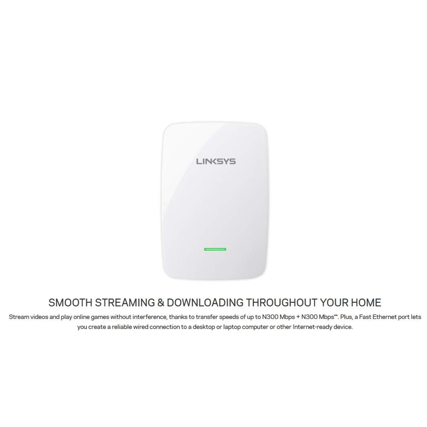 Linksys RE4100W N600 Dual-Band Wireless Range Extender - RE4100W-SG