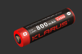 LiR KLARUS 3.7V 14500 Li-ion 800mAH Rechargeable Battery