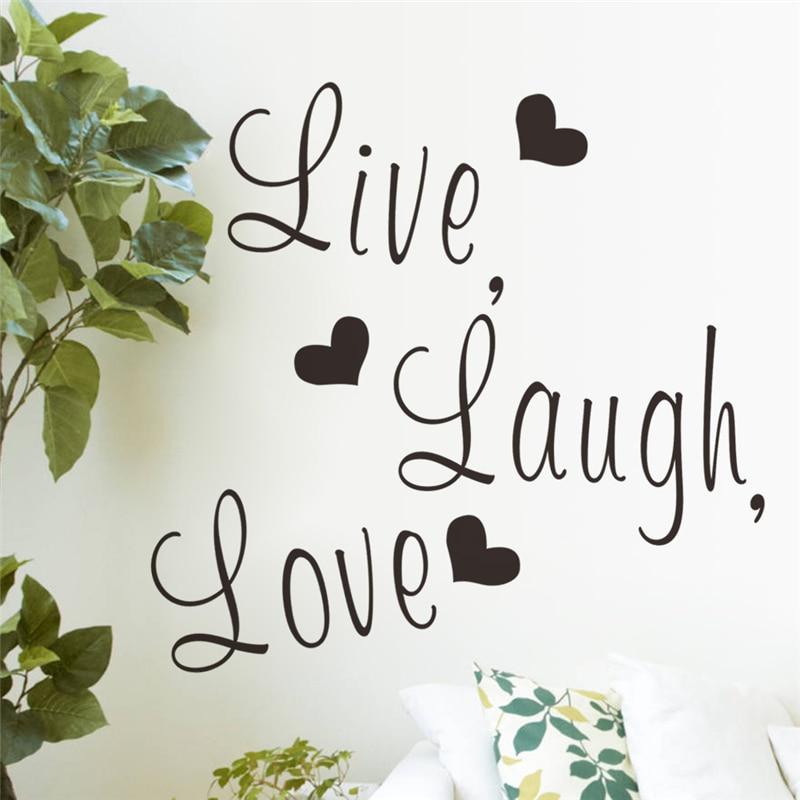Live laugh love letters vinile wall stickers per camera da letto decor