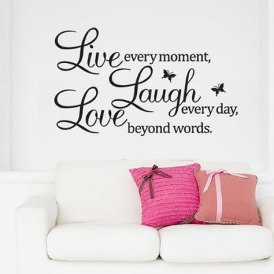 Live Laugh Love Quote Black Words Room Art Mural Wall Sticker Decal