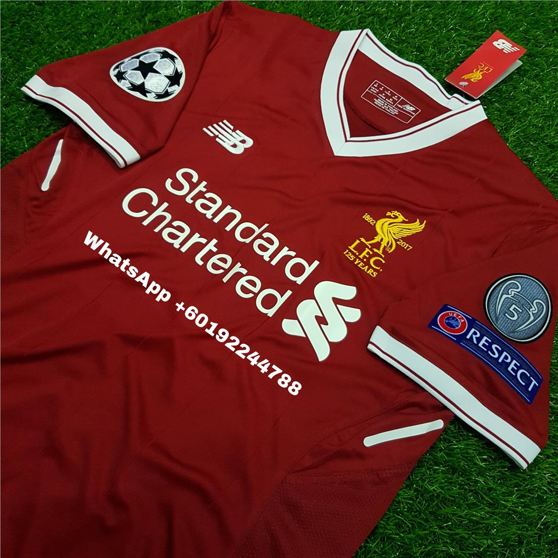 newest ecf42 c8c40 LIVERPOOL HOME JERSEY / JERSI 2017 / 18 FULL SPEC PATCH UCL