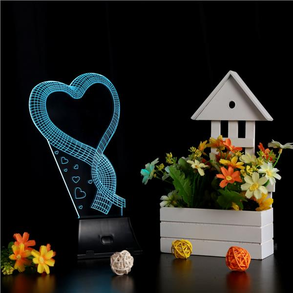 LIXADA 3D LED Lamp Light USB Loving Heart Colorful Night Light for Wed