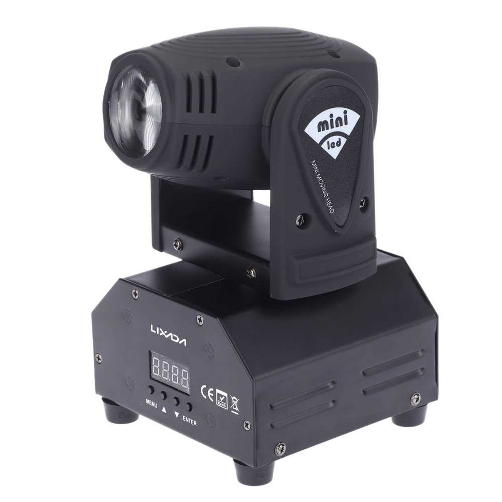 LIXADA LED Stage Effect Lamp Total 50W Rotating Moving Head DMX512 Sound  Activ