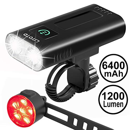 LIYOTD USB Rechargeable Bike Light Set Front and Back,6400 mAh Super Bright 12