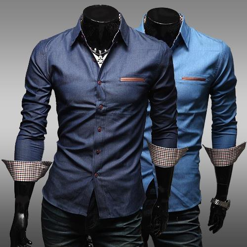 LJ49 men's long sleeve man elegance colar branded men top shirt