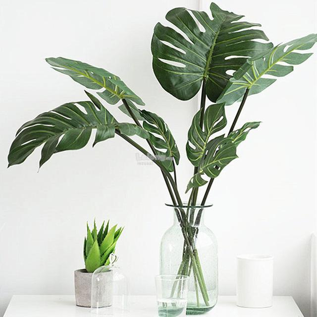 LJS 6PCS Medium SizeTurtle Leaf Artificial Plant Tropical Palm Leaves