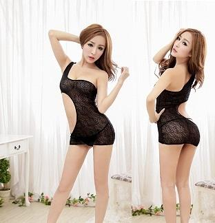 LM5595 Black Babydoll Nightwear Sleewear + G-string