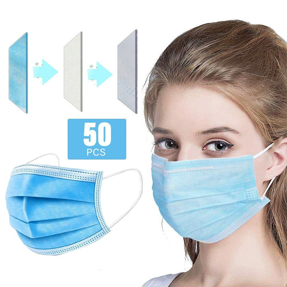 LOCAL READY STOCK 50 pcs 3 Ply Surgical Face Mask Disposable Waterproof Thicke