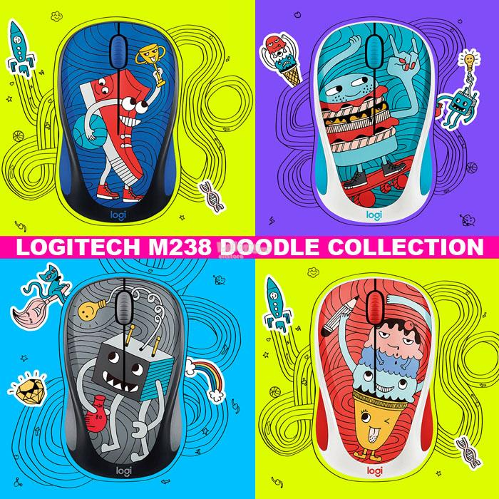 LOGITECH DOODLE COLLECTION M238 WIRELESS MOUSE  FREE:15 STICKER INSIDE
