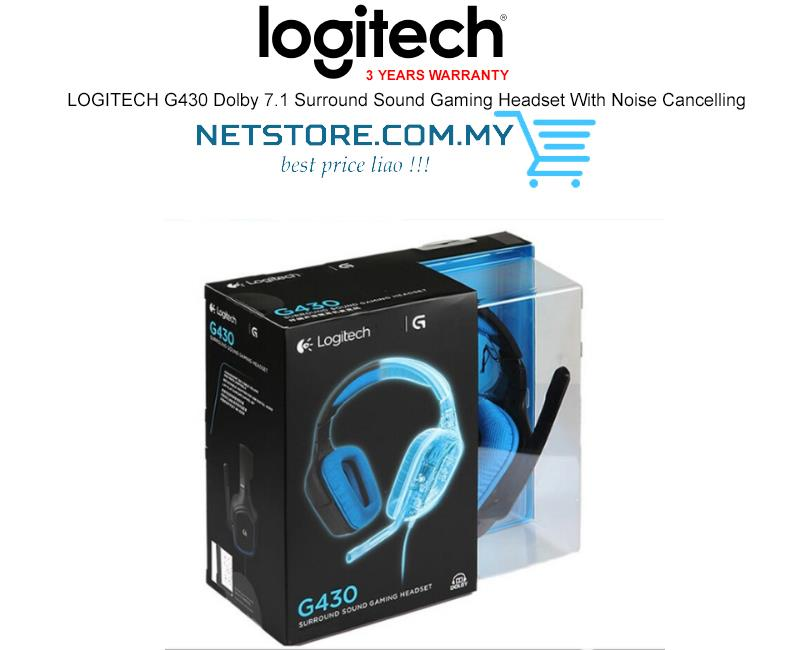 LOGITECH G430 Dolby 7 1 Surround Sound Gaming Headset Noise Cancel Mic