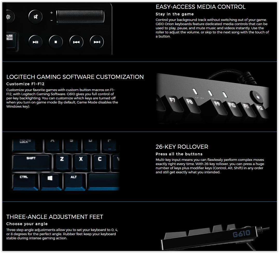 ce674c8abfe Logitech G610 Orion Brown Backlit Mechanical Gaming Keyboard