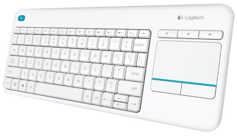 LOGITECH K400 PLUS TV WIRELESS KEYBOARD WITH TOUCH PAD WHT