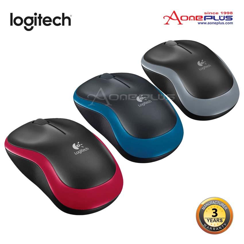 Logitech M185 Wireless Mouse - Grey/Blue/Red