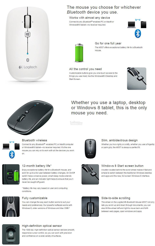 LOGITECH Mouse Bluetooth M557 (910-003961) Slim, ambidextrous WHITE