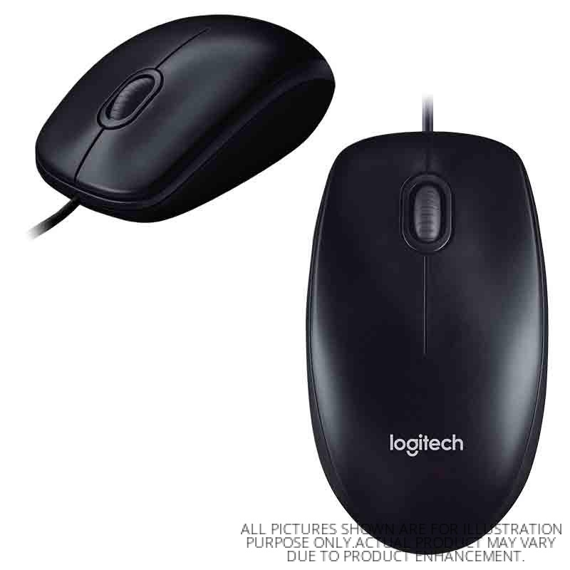 LOGITECH WIRED USB OPTICAL MOUSE M100R (910-005005) BLK