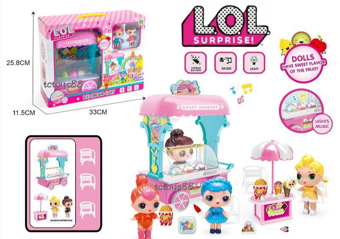 LOL ICE CREAM CART PLAYSET (LIGHTS & MUSIC) CUTE LOL SURPRISE TOYS