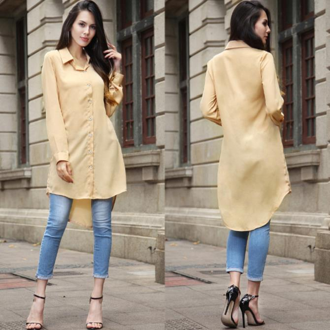 low price best place for pretty nice Long Shirt Women Tops Black Chiffon Blouse Long Sleeve (M Size)