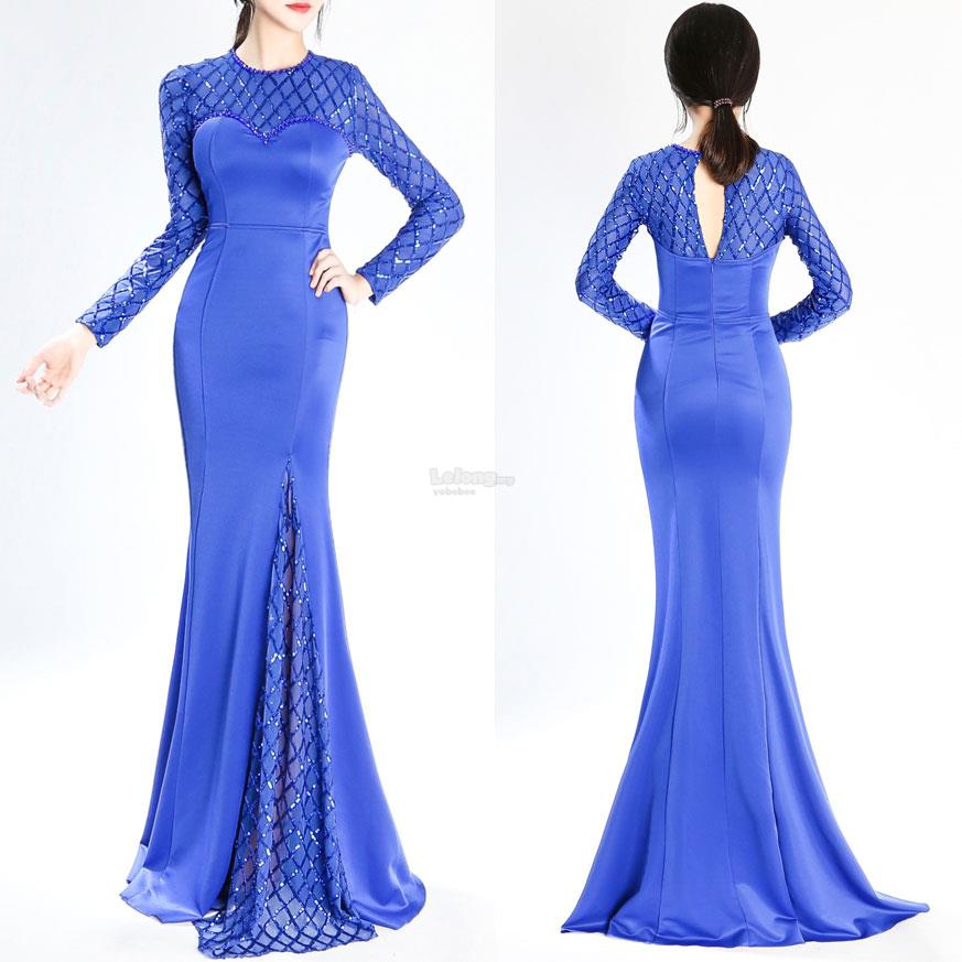 Long Sleeve Prom Dress with Fish Ne (end 10/28/2018 2:15 PM)
