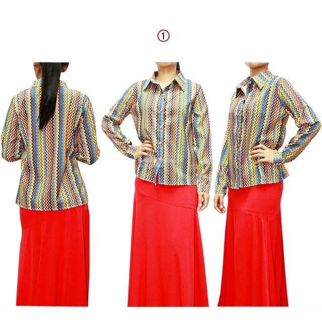 Long Sleeve Shirt with Chevron Pattern 13387