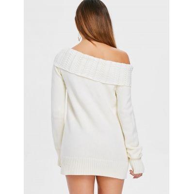 09333ea5d1b Long Sleeve Off Shoulder Rhombus Sweater Dress (CRYSTAL CREAM)