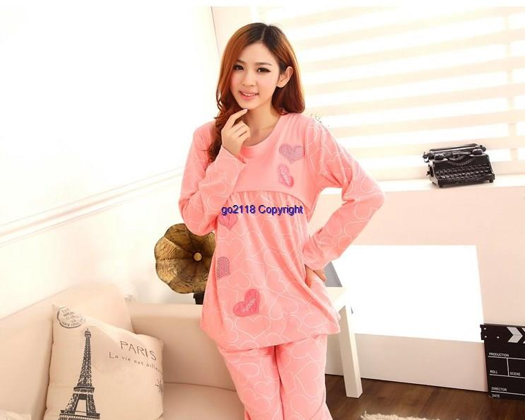 Long-Sleeved Cotton Confinement Adjuustable Waist BreastFeed Pyjamas