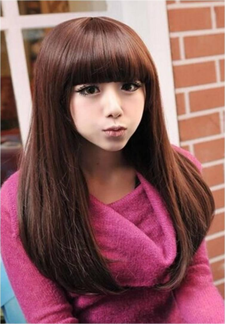 long straight wig /curve end/ ready stock / rambut palsu