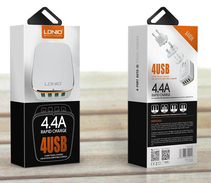 LONIO 4.4A OUTPUT 4 PORT RAPID CHARGE Travel Wall Charger Adapter
