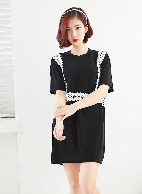Loose Crochet Short Sleeve Dress