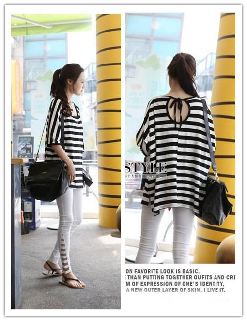 Loose Stripe Back Tie Long Blouse