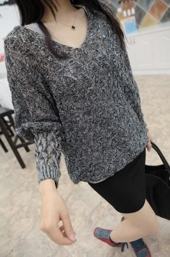 Loose V-neck Long Sleeve Knit Blouse (Dark Grey)