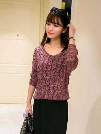 Loose V-neck Long Sleeve Knit Blouse (Wine Red)