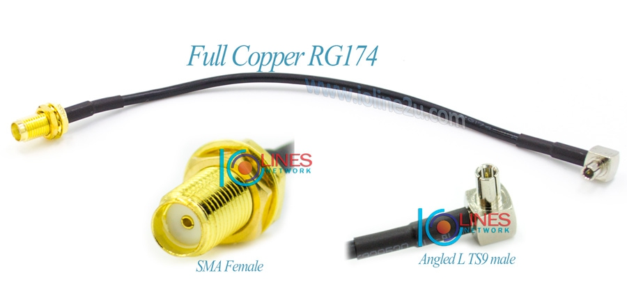 Low Loss TS9 to SMA Female converter cable Angled L 90 Degree RG174 Huawei ZTE