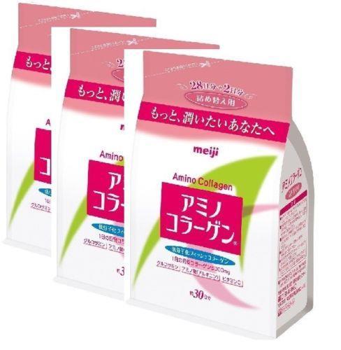 Lot3 Meiji Amino Collagen Refill Pack 214g x3 90days direct skin care. ‹ ›
