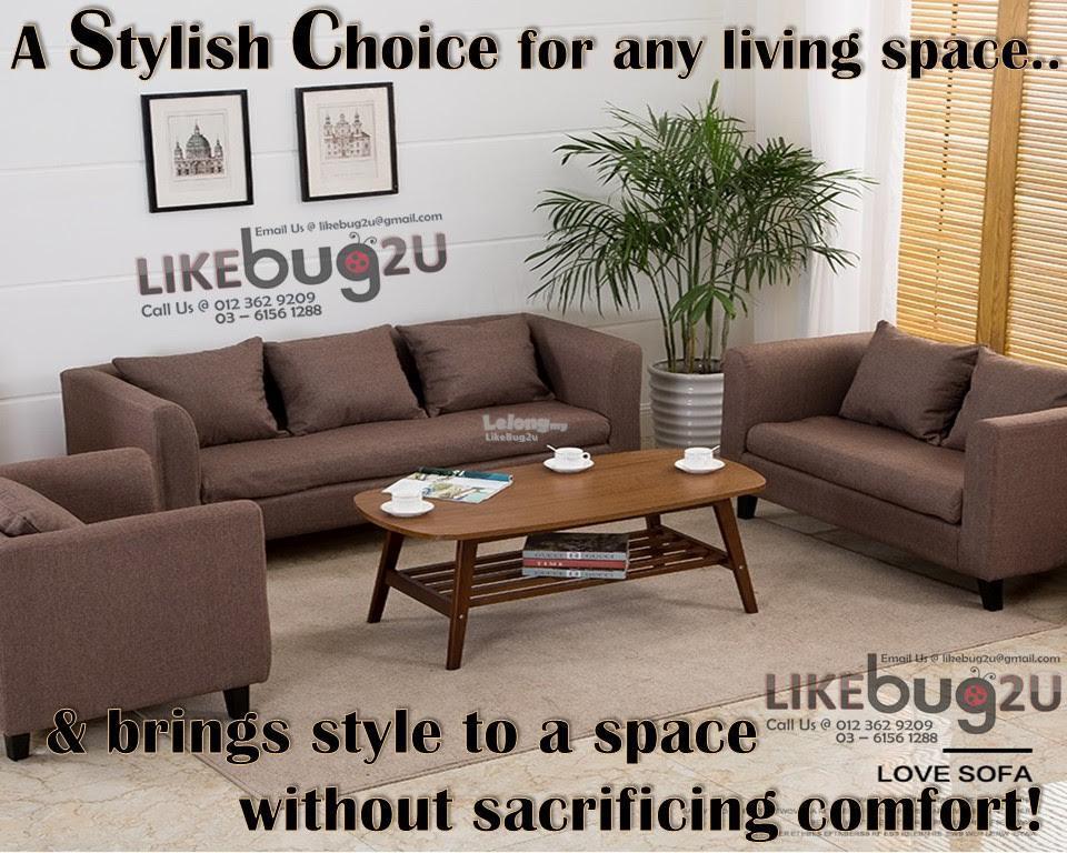 LOUISSE Modern Living Style Velvet Skin Comfy Sofa [S/M/L To Choose