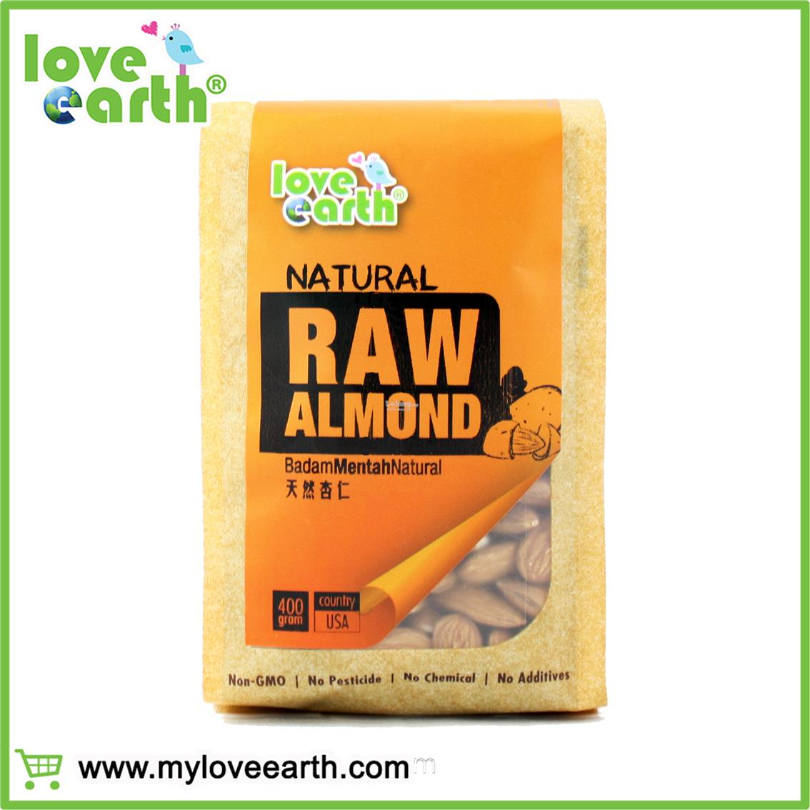 LOVE EARTH NATURAL RAW ALMOND 400G