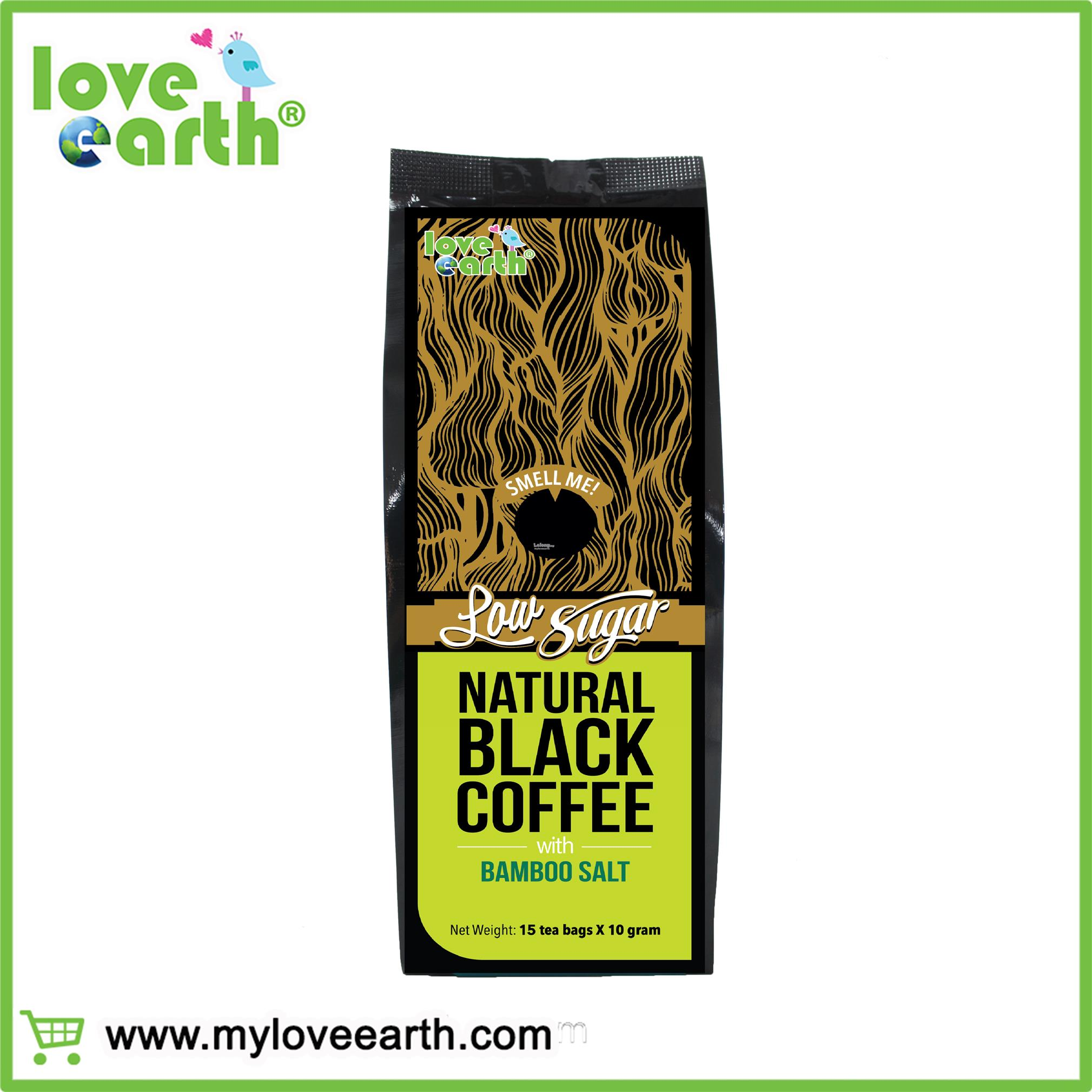 LOVE EARTH NATURAL LOW SUGAR BLACK COFFEE WITH BAMBOO SALT 10GX15